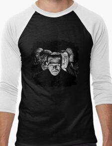 Classic Monsters Black & White POP! Men's Baseball ¾ T-Shirt