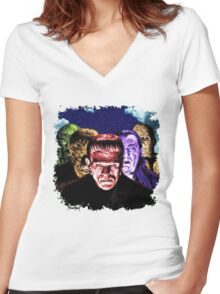 Classic Monsters COLOR POP! Women's Fitted V-Neck T-Shirt