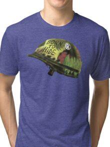 Born to Hide helmet Tri-blend T-Shirt