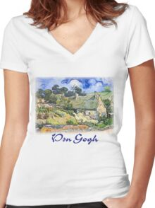 Vincent Van Gogh - Cottages with Thatched Roofs Women's Fitted V-Neck T-Shirt