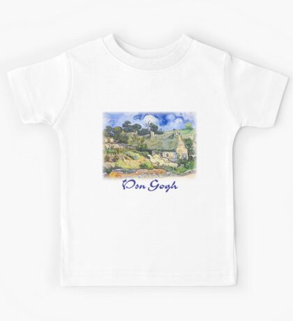 Vincent Van Gogh - Cottages with Thatched Roofs Kids Tee