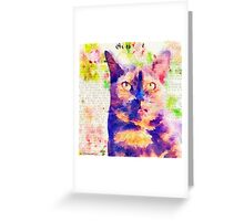 Tortie Mash Mixed Media Greeting Card