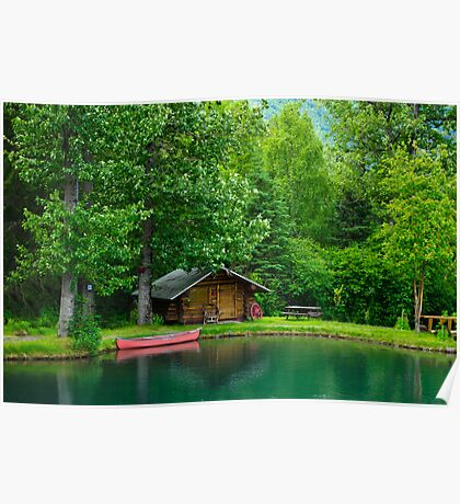 Wlderness lake home Poster
