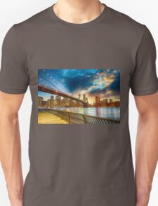 Brooklyn bridge New York City at sunset T-Shirt