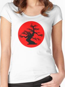 bonsai red sun  Women's Fitted Scoop T-Shirt