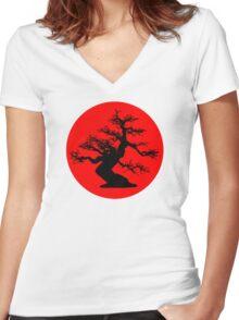bonsai red sun  Women's Fitted V-Neck T-Shirt