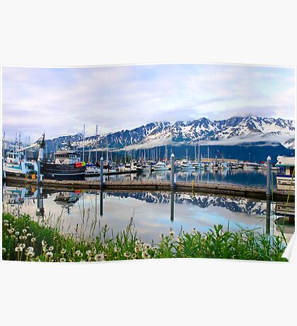 Fishing harbor Alaska Poster