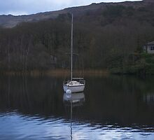 White boat on a dark lake by Steve plowman