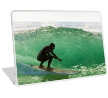 Long boarder surfing the waves at sunset Laptop Skin