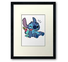 Cute Stitch and his toy Framed Print