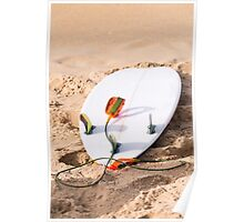 Surfboard on beach Poster