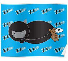 Ninja Kitty and Mouse Sleeping Poster