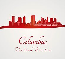 Columbus skyline in red by Pablo Romero