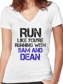 Run like you're running with Sam and Dean Women's Fitted V-Neck T-Shirt