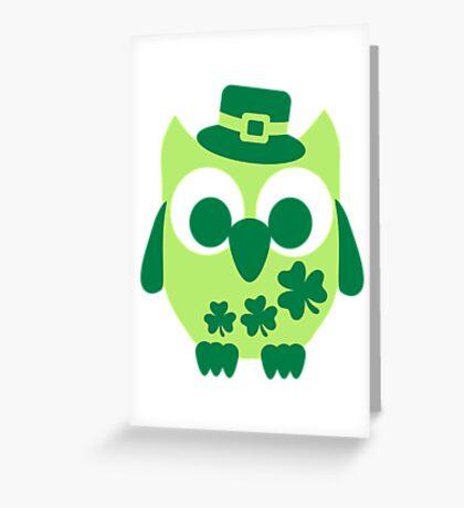 Cute irish shamrock owl Greeting Card