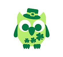 Cute irish shamrock owl Photographic Print