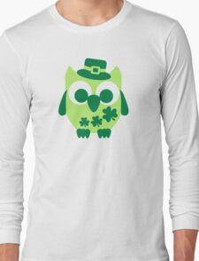 Cute irish shamrock owl Long Sleeve T-Shirt