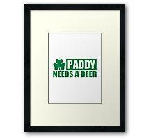 Paddy needs a beer shamrock Framed Print