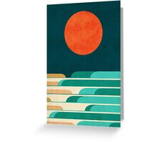 Red moon and chasing waves Greeting Card