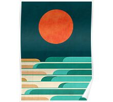 Red moon and chasing waves Poster