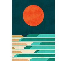 Red moon and chasing waves Photographic Print