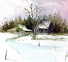 Farmhouse in the Snow by Jim Phillips