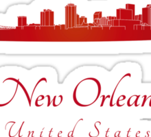 New Orleans skyline in red Sticker