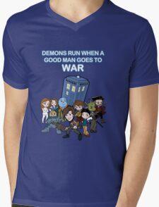 Demons Run When A Good Man Goes to War Mens V-Neck T-Shirt