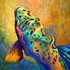 Trout Fish Wildlife Painting - Waiting Patiently by Mike Savlen