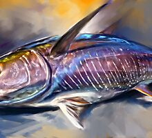 "Yellowfin Tuna Sportfishing Art - ""Where's My Wasabi""  by Mike Savlen"