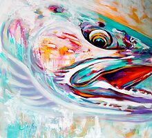 "Steelhead Fish Expressionist Art - ""Vanishing Native"" by Mike Savlen"