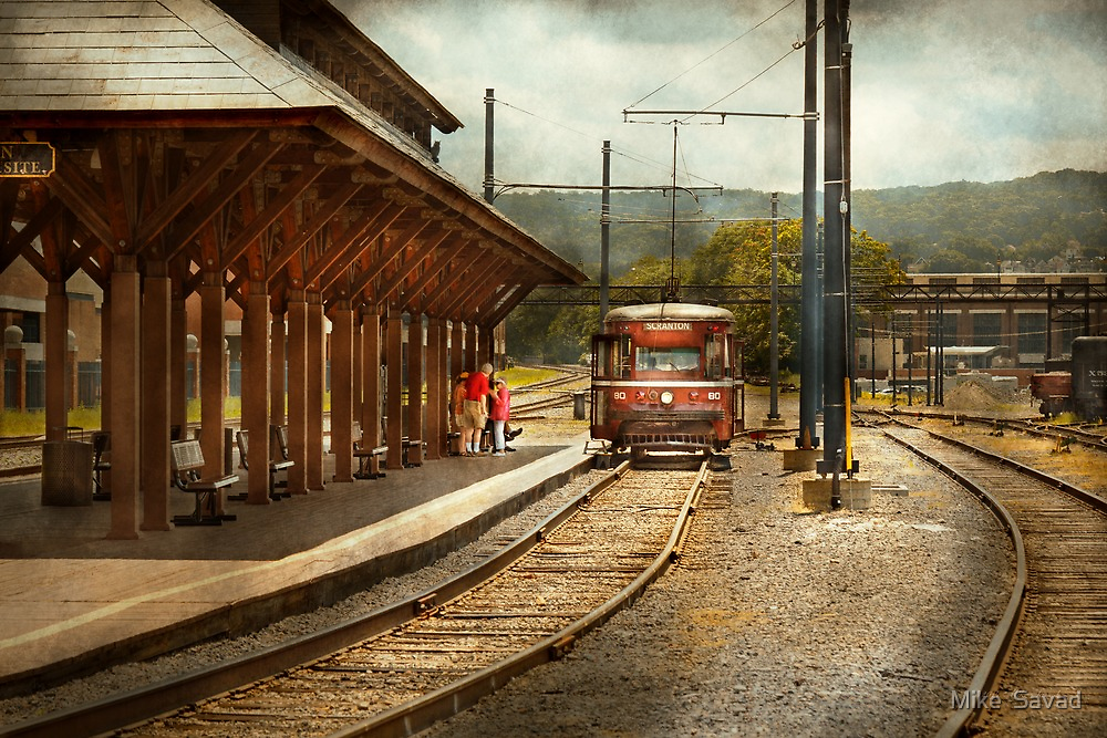 Train - Boarding the Scranton Trolley by Mike  Savad