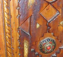 Atlas Travel wooden door Work by AnaCanas
