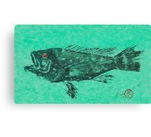 Black Sea Bass on Aegean Green Unryu Paper Canvas Print