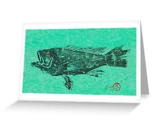 Black Sea Bass on Aegean Green Unryu Paper Greeting Card