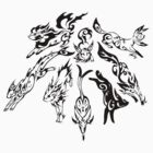Eevee Evolution Tribal Print Black by everlander