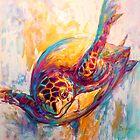 "Marine Wildlife Art - ""Expressionist Hawksbill Sea by Mike Savlen"