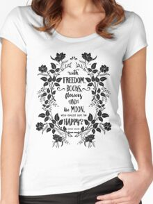 Freedom & Books & Flowers & Moon Women's Fitted Scoop T-Shirt