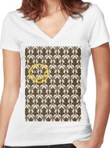 BBC Sherlock Holmes Damask Wallpaper Pattern Women's Fitted V-Neck T-Shirt