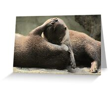 Otters cuddling Greeting Card