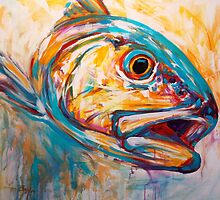 Red Drum Fish art - Expressionist Redfish by Mike Savlen