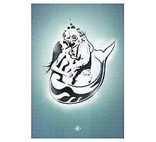"Mermaid + Diver Stencil. ""Impossible Love"" - Grey version Photographic Print"