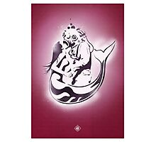 "Mermaid + Diver Stencil. ""Impossible Love"" - Plum Orchid version Photographic Print"