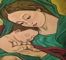 mary and baby jesus by calderonart