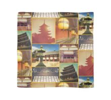 Traditional Japanese Architecture Nara Kyoto Collage 1 Scarf