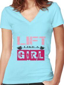 Lift Like A Girl Women's Fitted V-Neck T-Shirt