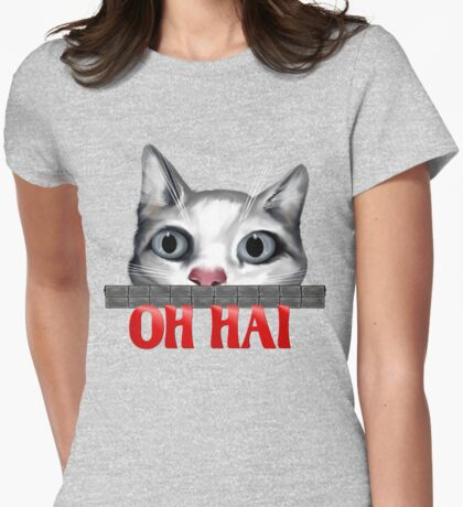 Oh Hai-red Womens Fitted T-Shirt