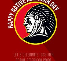 Native American Day Retro Poster Card by patrimonio