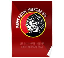 Native American Day Retro Poster Card Poster