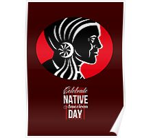 Celebrate Native American Day Retro Poster Card Poster
